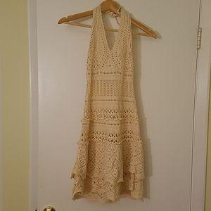 Cotton Beige Macrame Mini Dress Open Back Sz S